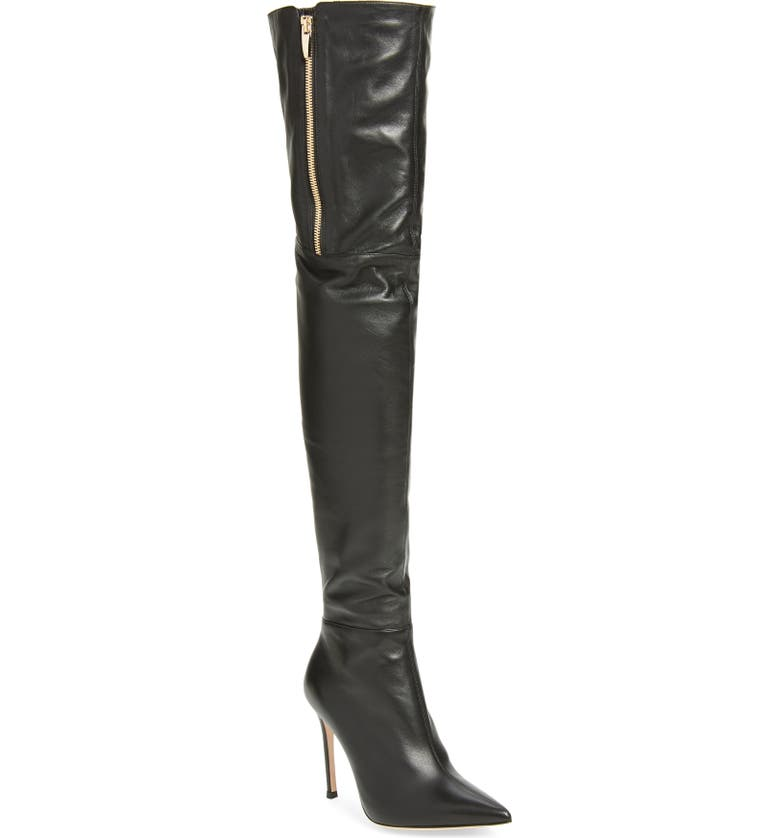 GIANVITO ROSSI Pointed Toe Over the Knee Boot, Main, color, BLACK