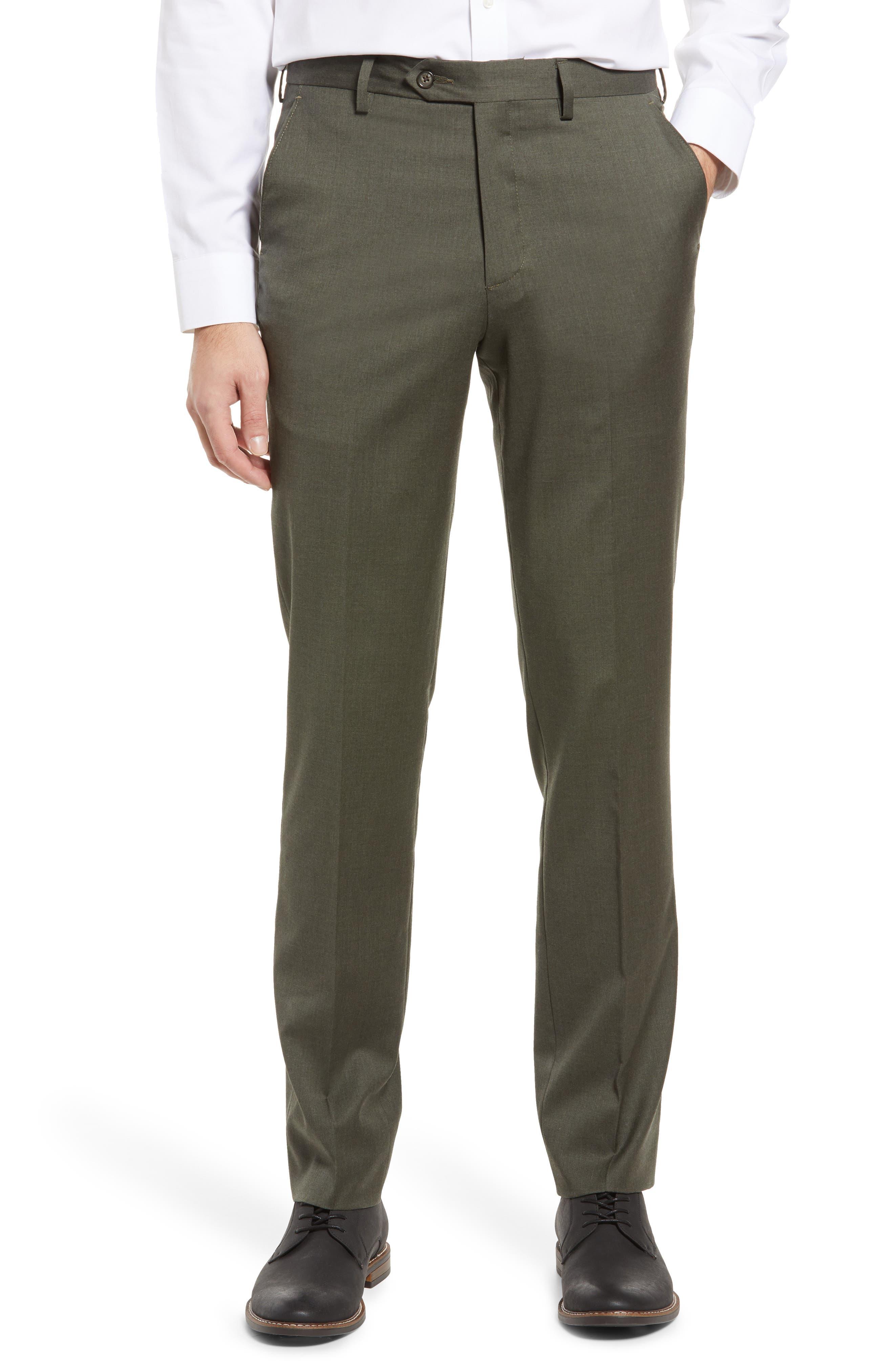 Men's Solid Flat Front Stretch Wool Dress Pants