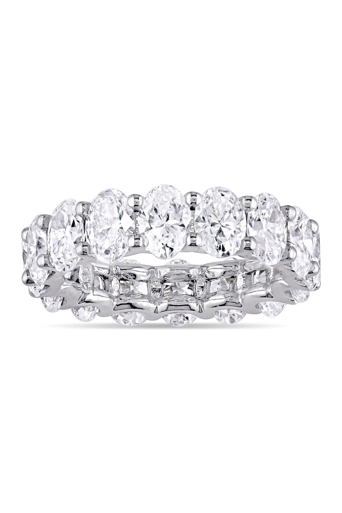 Image of Suzy Levian Sterling Silver Petite Oval-Cut CZ Eternity Band