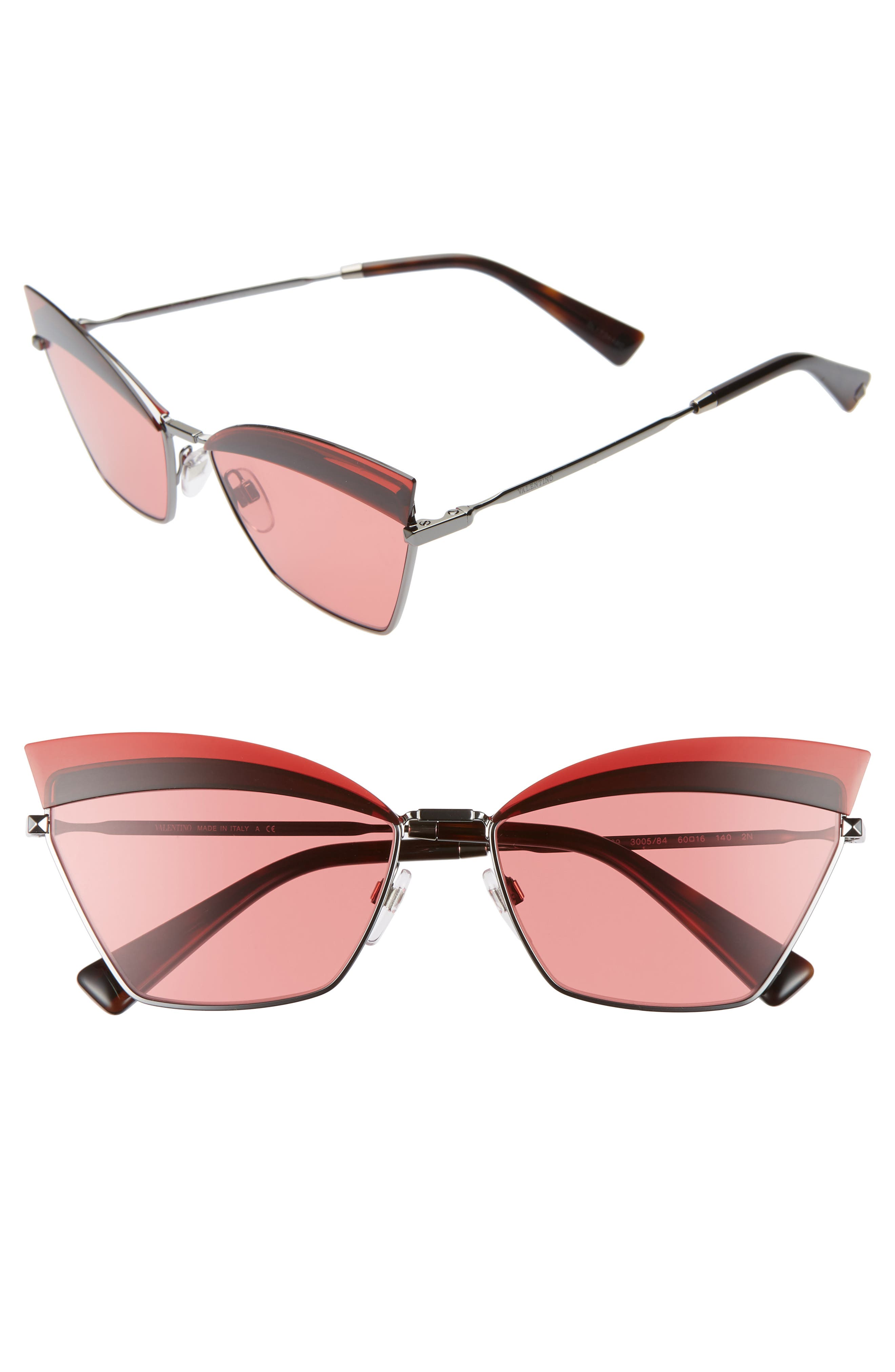Valentino 60Mm Cat Eye Sunglasses - Red/ Gunmetal