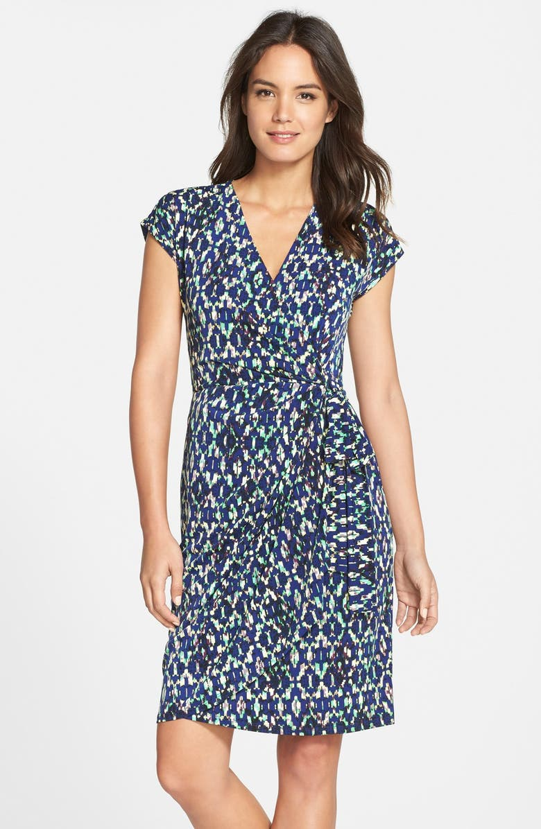 MAGGY LONDON Ikat Print Wrap Dress, Main, color, 400