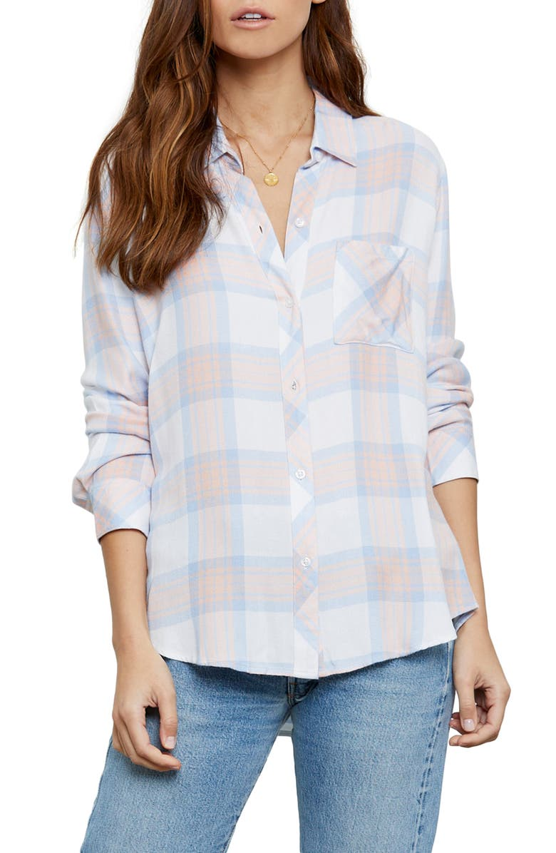 RAILS Hunter Plaid Shirt, Main, color, PEACH SKY WHITE
