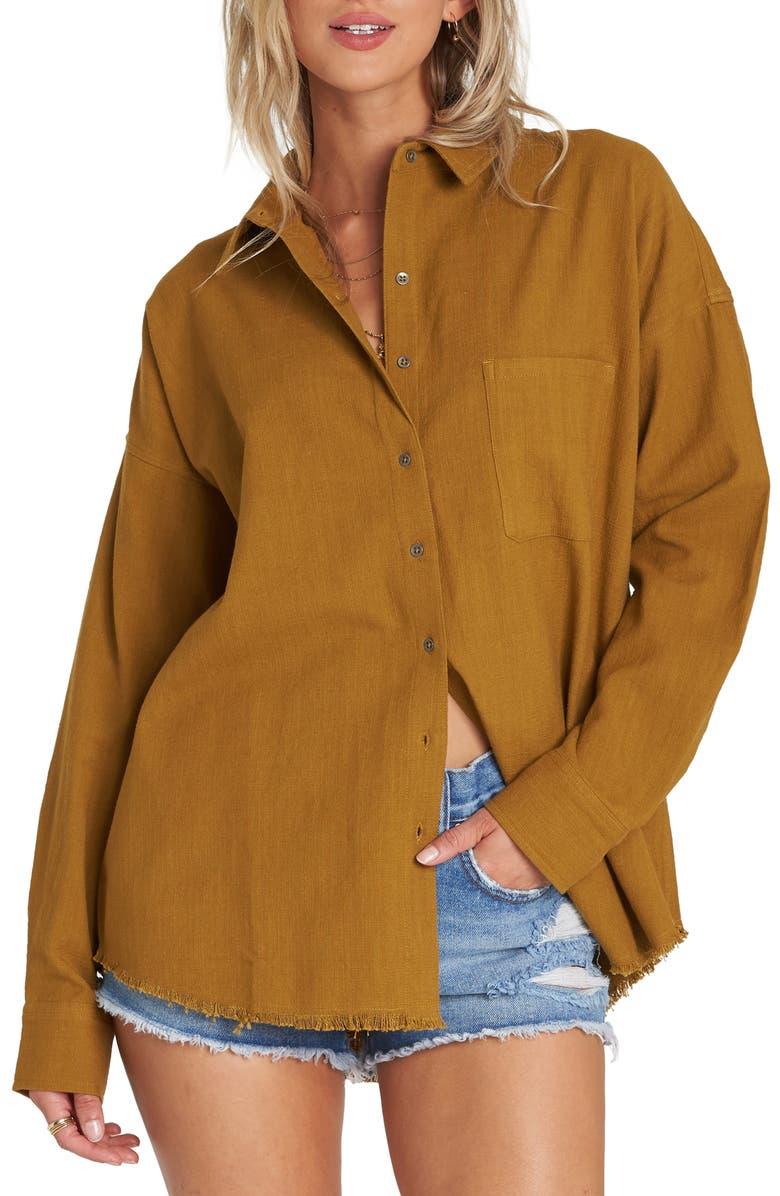 BILLABONG Feeling Salty Cotton Shirt, Main, color, MOSS