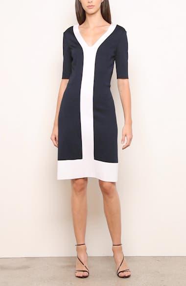 Colorblock Milano Knit Sheath Dress, video thumbnail