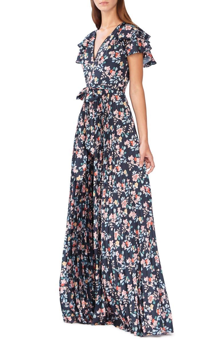 ML MONIQUE LHUILLIER Floral Evening Dress, Main, color, 410