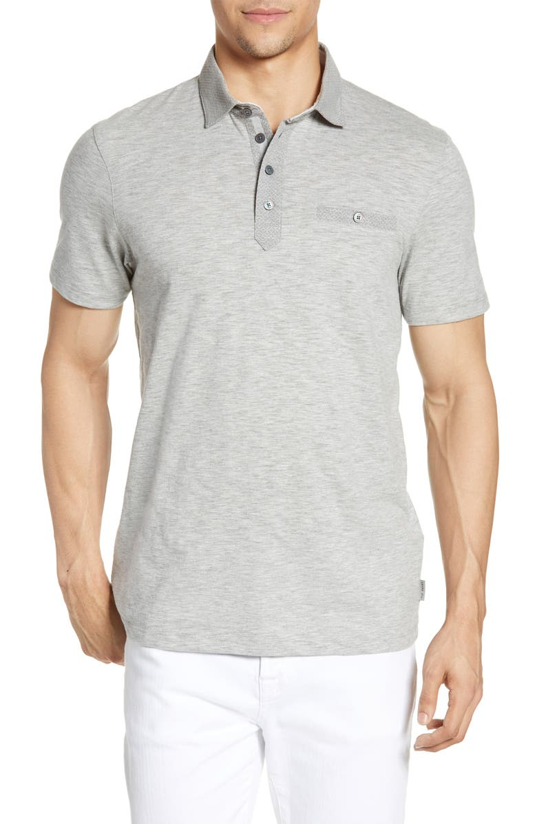 TED BAKER LONDON Geo Collar Slim Fit Solid Polo, Main, color, GREY-MARL