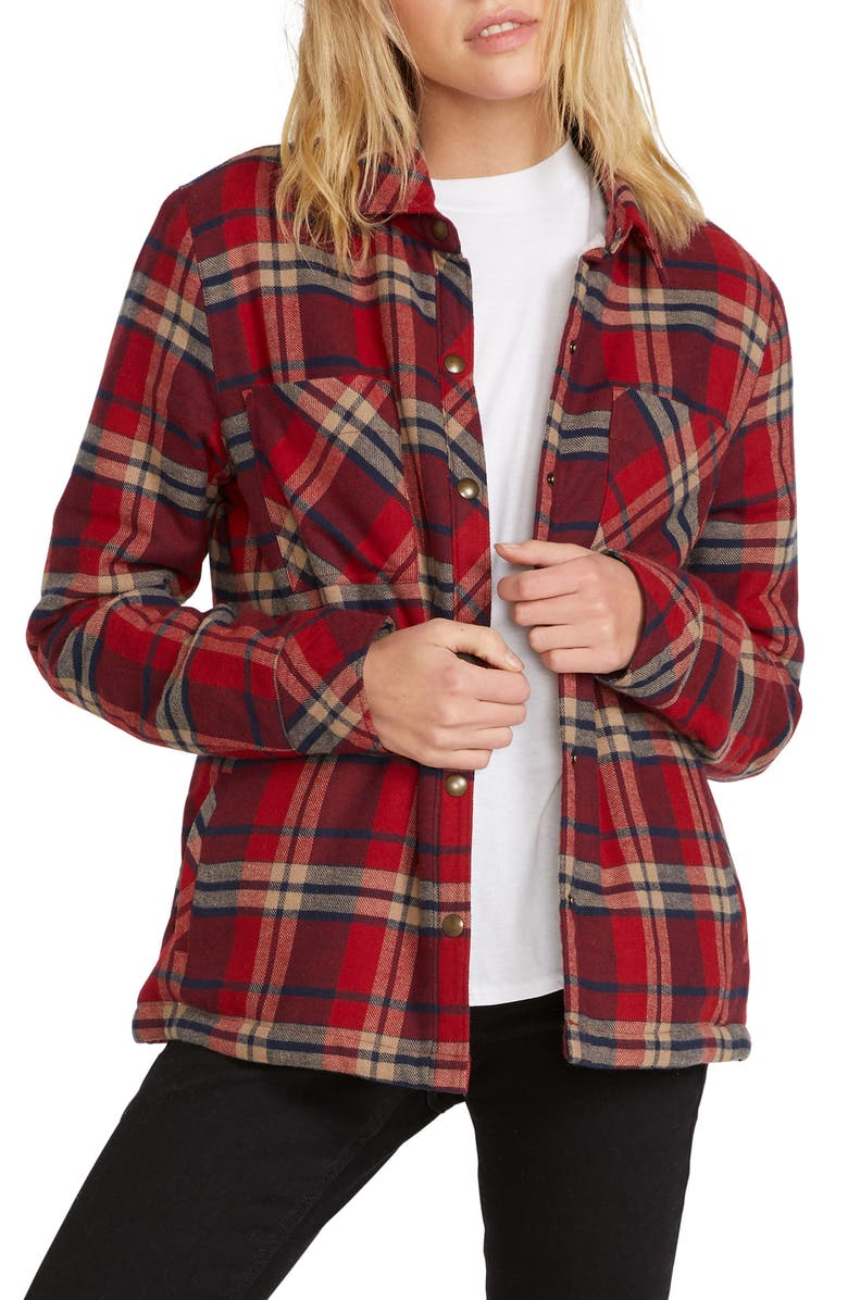 VOLCOM Plaid About You Plaid Flannel Shaket, Main, color, DEEP RED