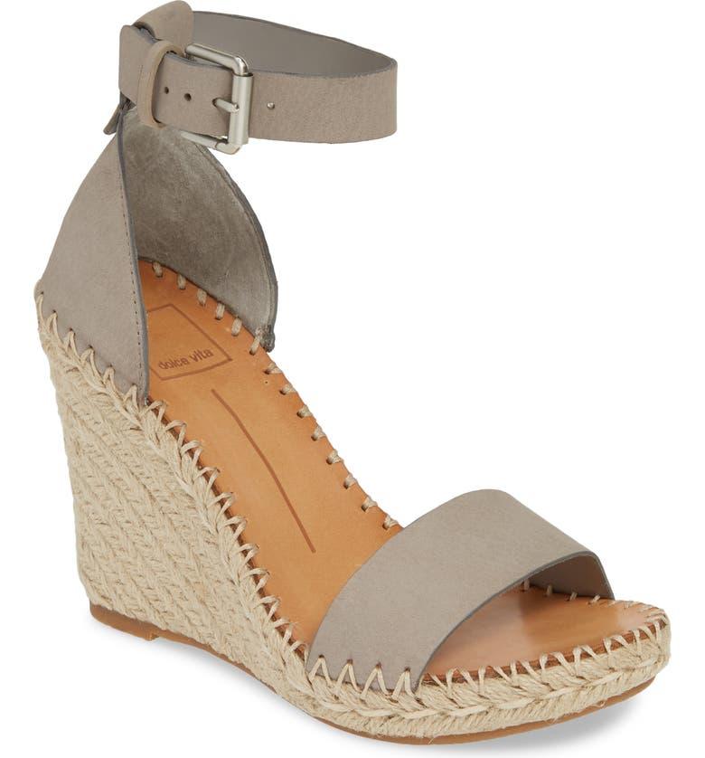 DOLCE VITA Noor Espadrille Wedge Sandal, Main, color, GREY NUBUCK