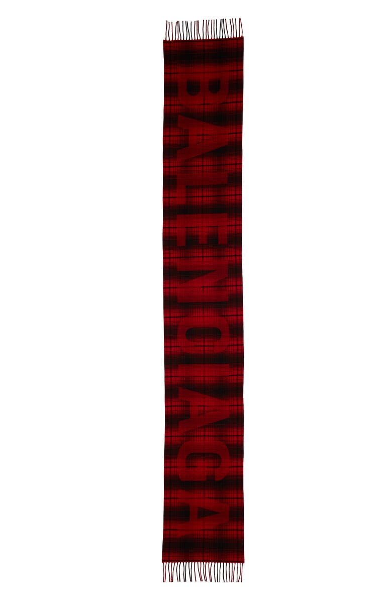 BALENCIAGA Logo Tartan Wool Scarf, Main, color, BLACK/ RED