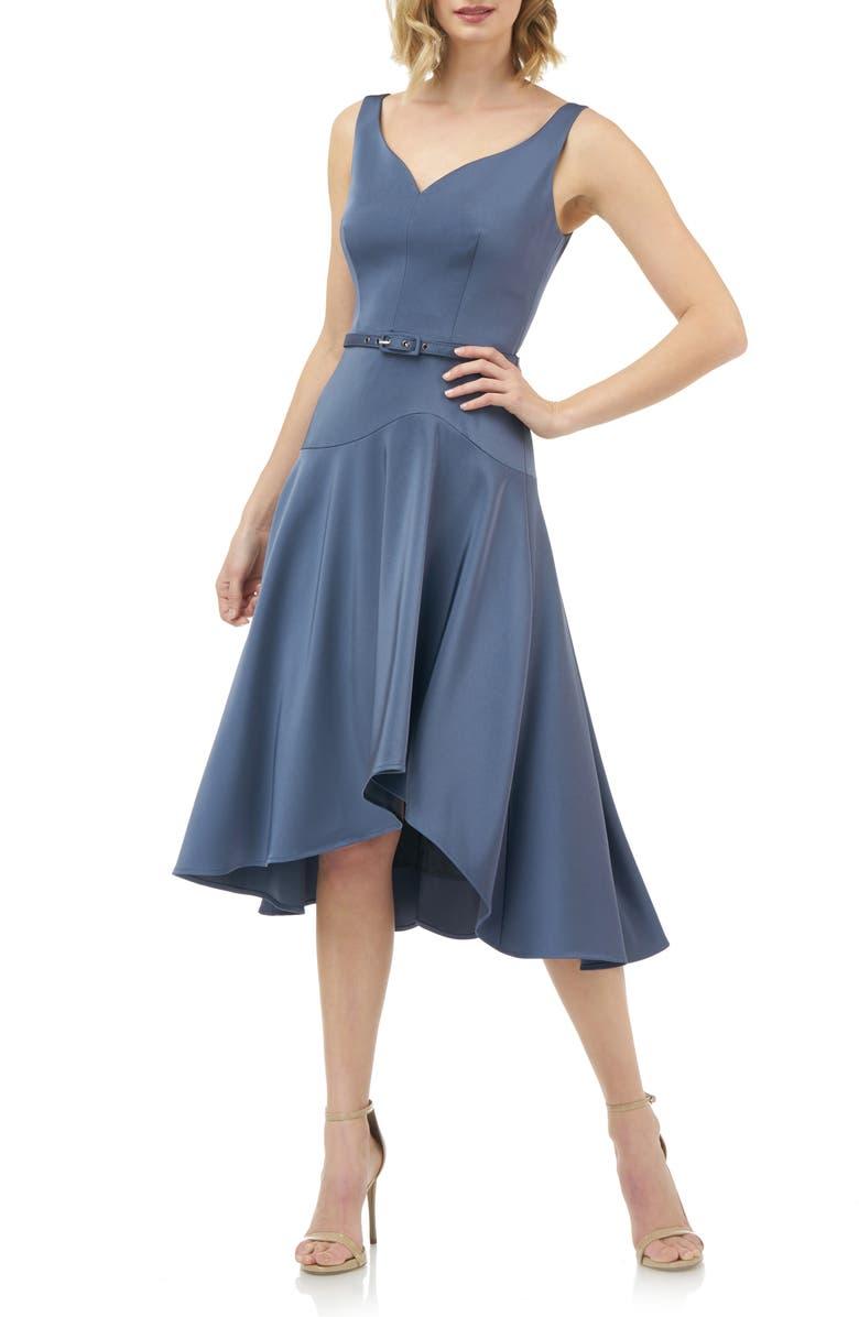 KAY UNGER Belted Fit & Flare Dress, Main, color, SMOKE BLUE