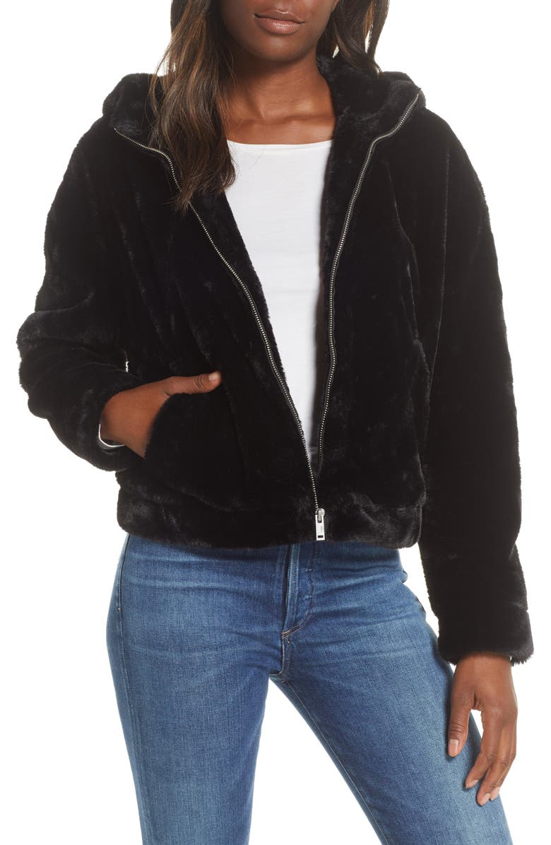 UGG<SUP>®</SUP> Mandy Faux Fur Hooded Jacket, Main, color, BLACK