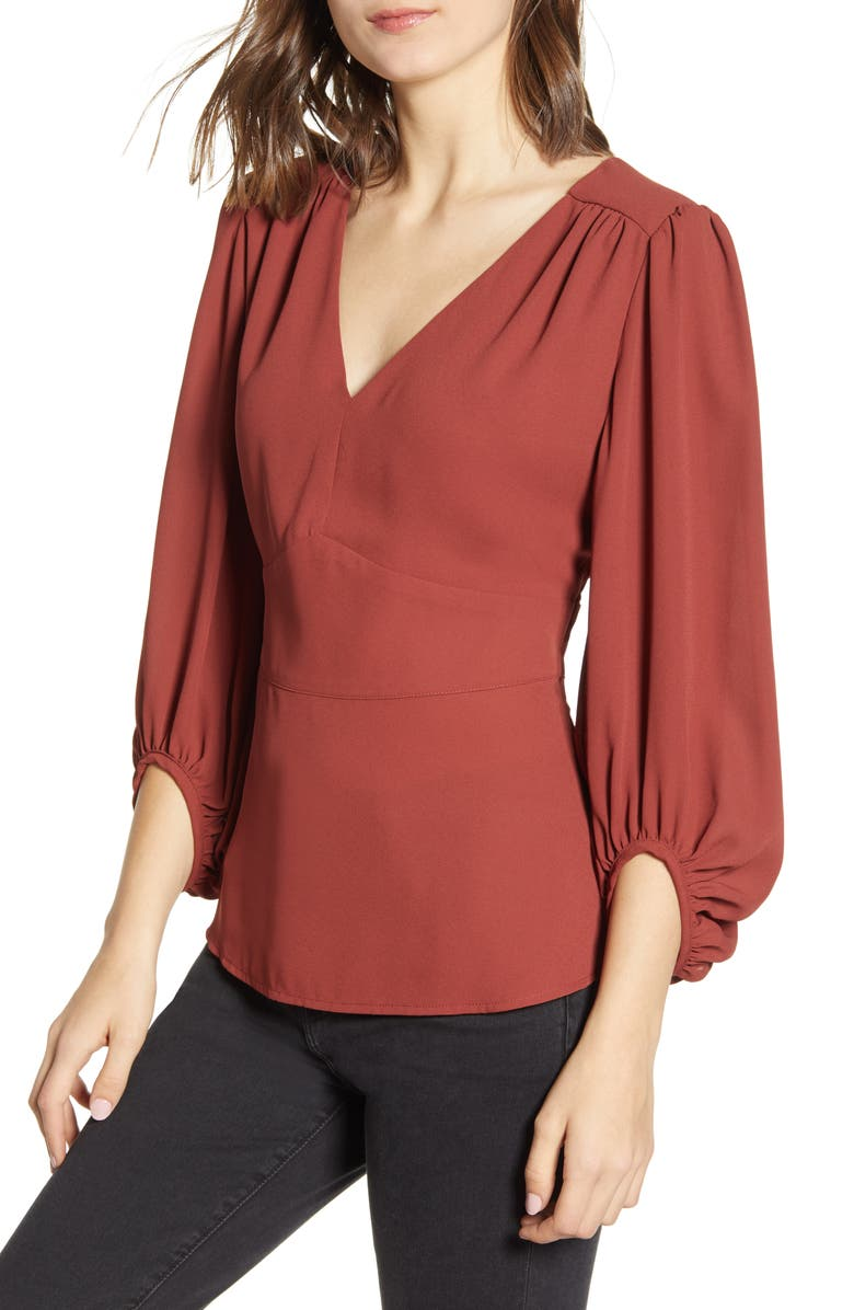 CHELSEA28 Balloon Sleeve Top, Main, color, BURGUNDY RUSSET