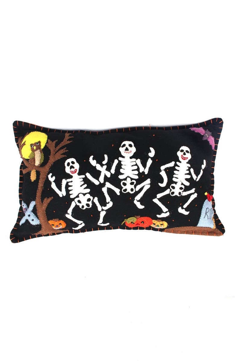 NEW WORLD ARTS Dancing Skeletons Accent Pillow, Main, color, BLACK MULTI
