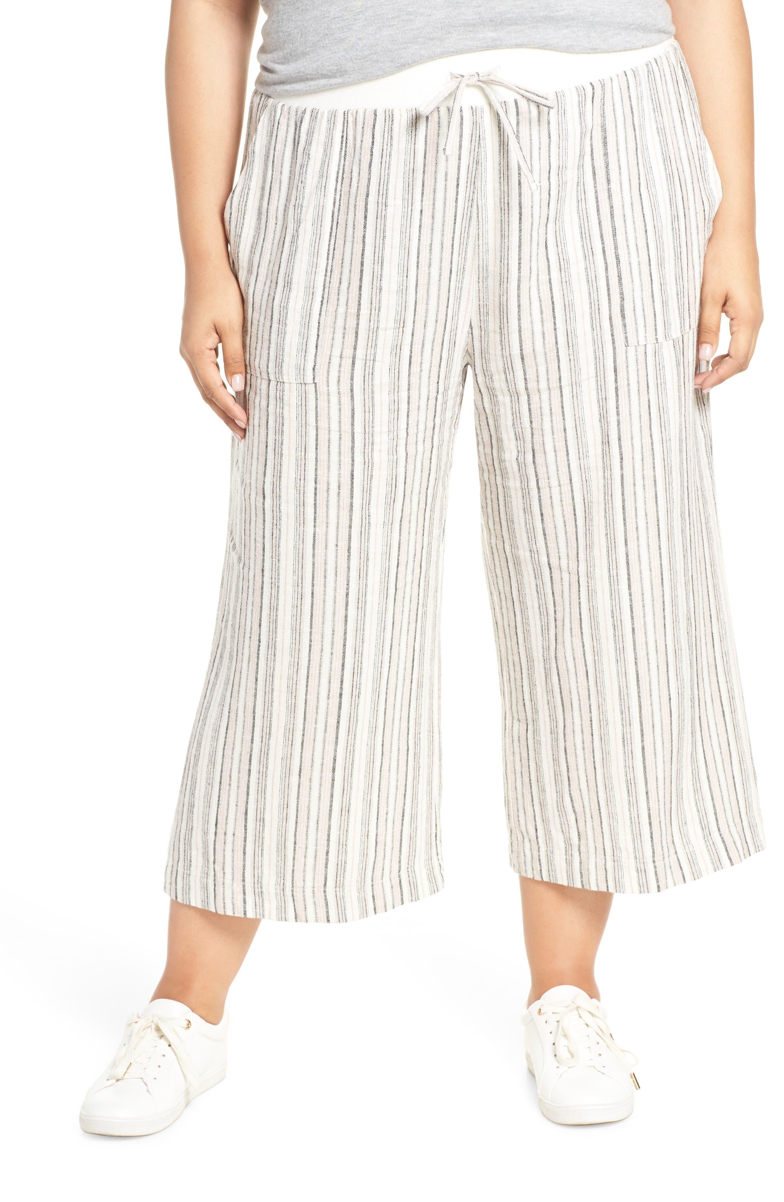 ,                             Stripe Crop Linen Blend Pants,                             Alternate thumbnail 16, color,                             680
