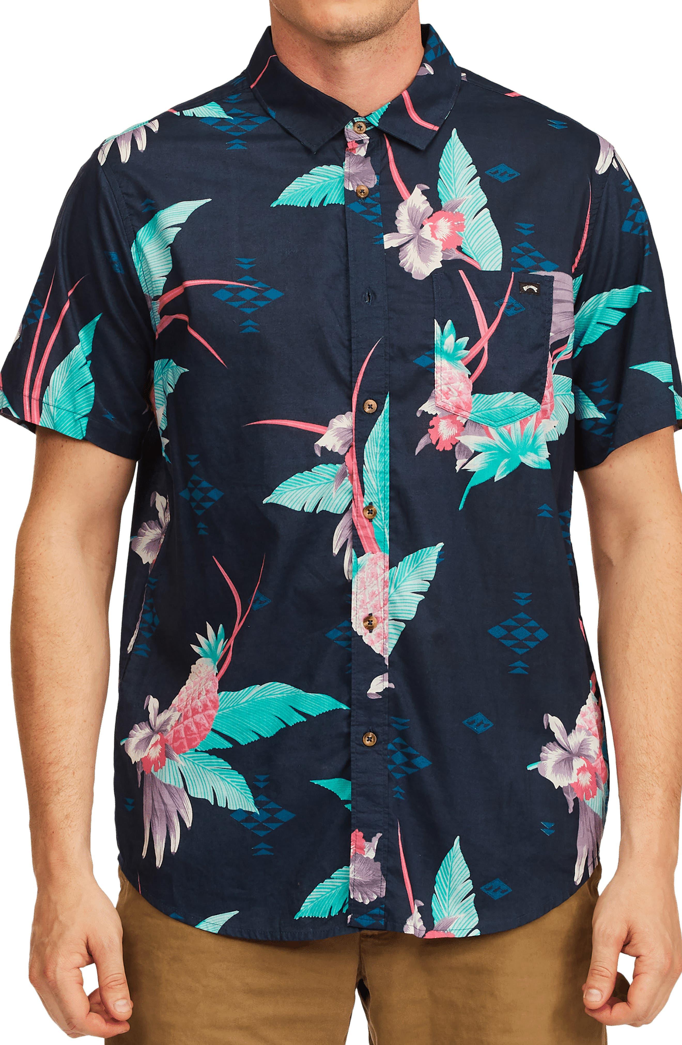 Men's Sundays Floral Short Sleeve Button-Up Shirt