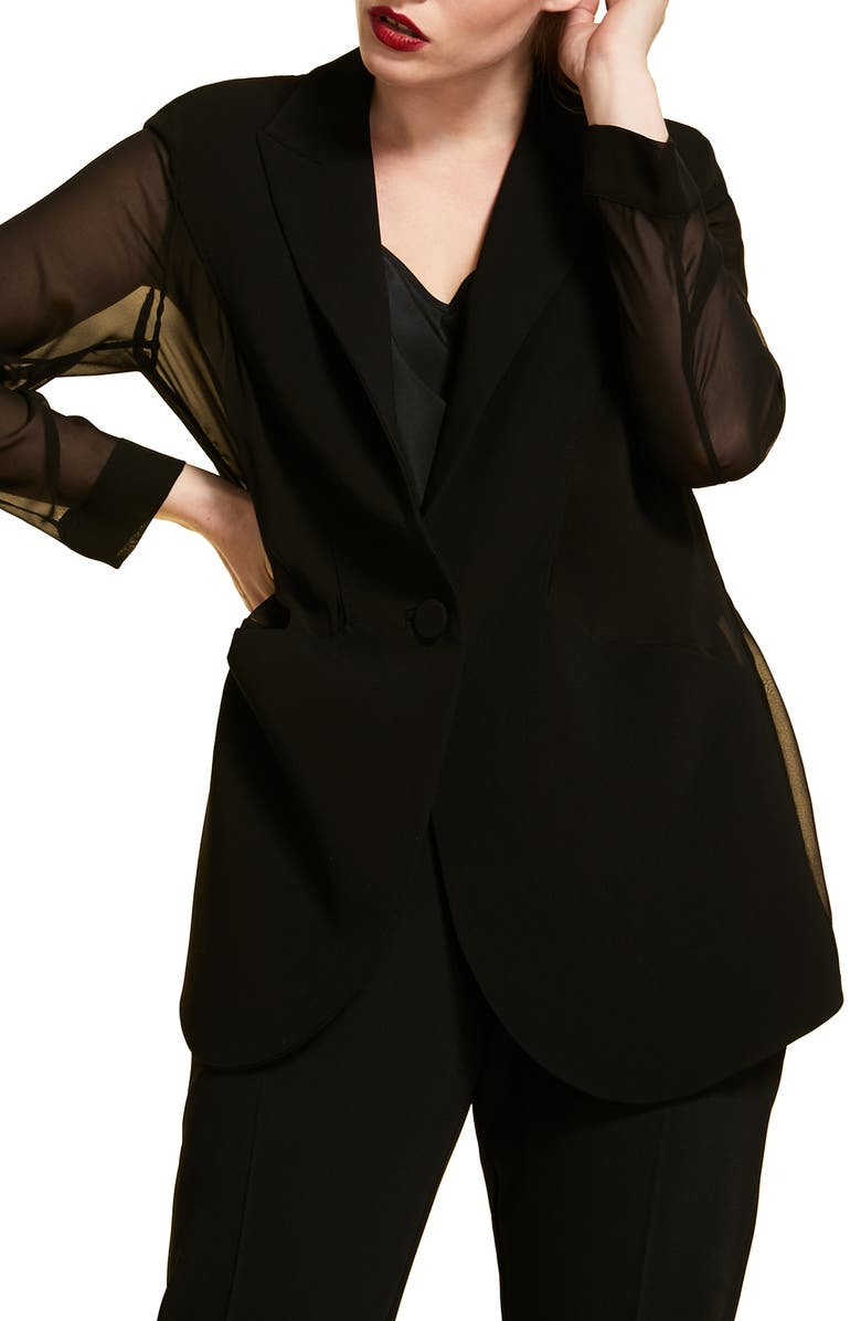 MARINA RINALDI Canarie Chiffon Sleeve Jacket, Main, color, BLACK