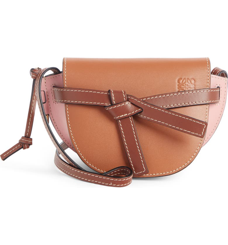 LOEWE Mini Gate Leather Crossbody Bag, Main, color, TAN/ MEDIUM PINK