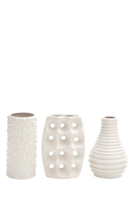 Image of CosmoLiving by Cosmopolitan White Modern Vase - Set of 3