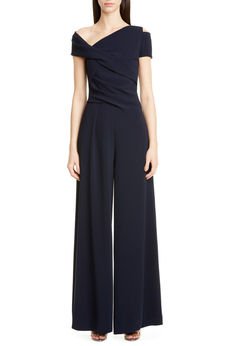 TALBOT RUNHOF One-Shoulder Stretch Crepe Jumpsuit, Main, color, MIDNIGHT