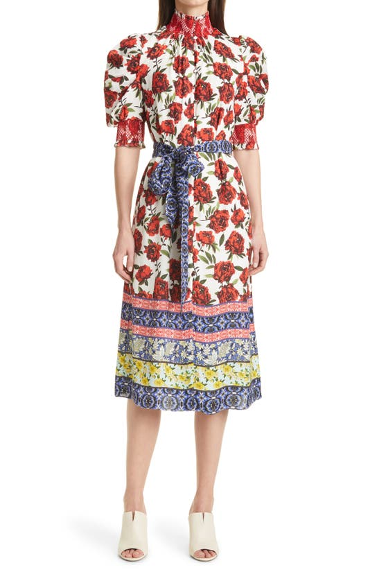 Alice And Olivia SILVA FLORAL SMOCK DETAIL BELTED MIDI DRESS
