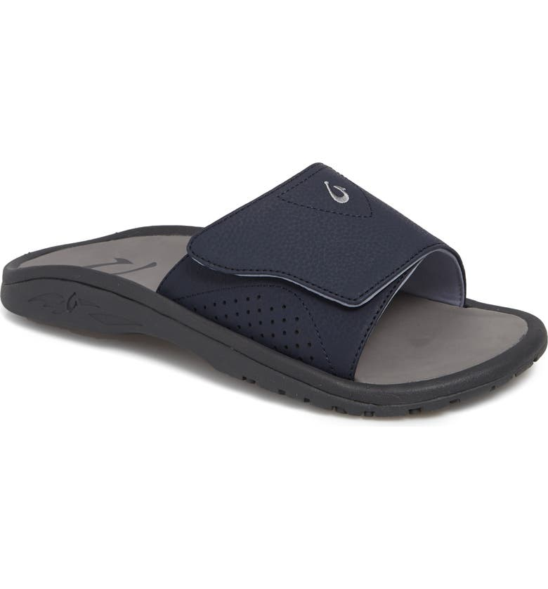 OLUKAI Nalu Slide Sandal, Main, color, TRENCH BLUE/ CHARCOAL