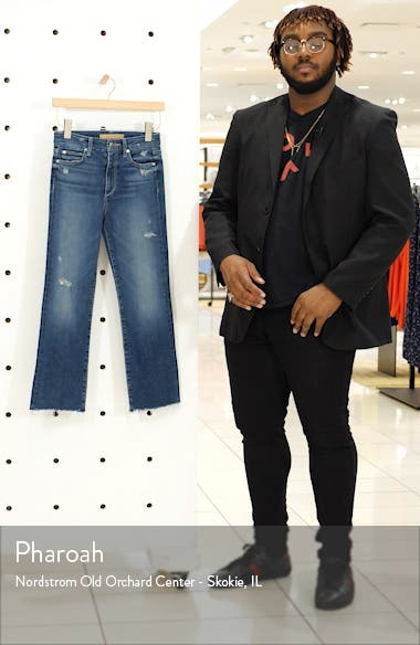 The Hi Honey High Waist Distressed Raw Crop Bootcut Jeans, sales video thumbnail