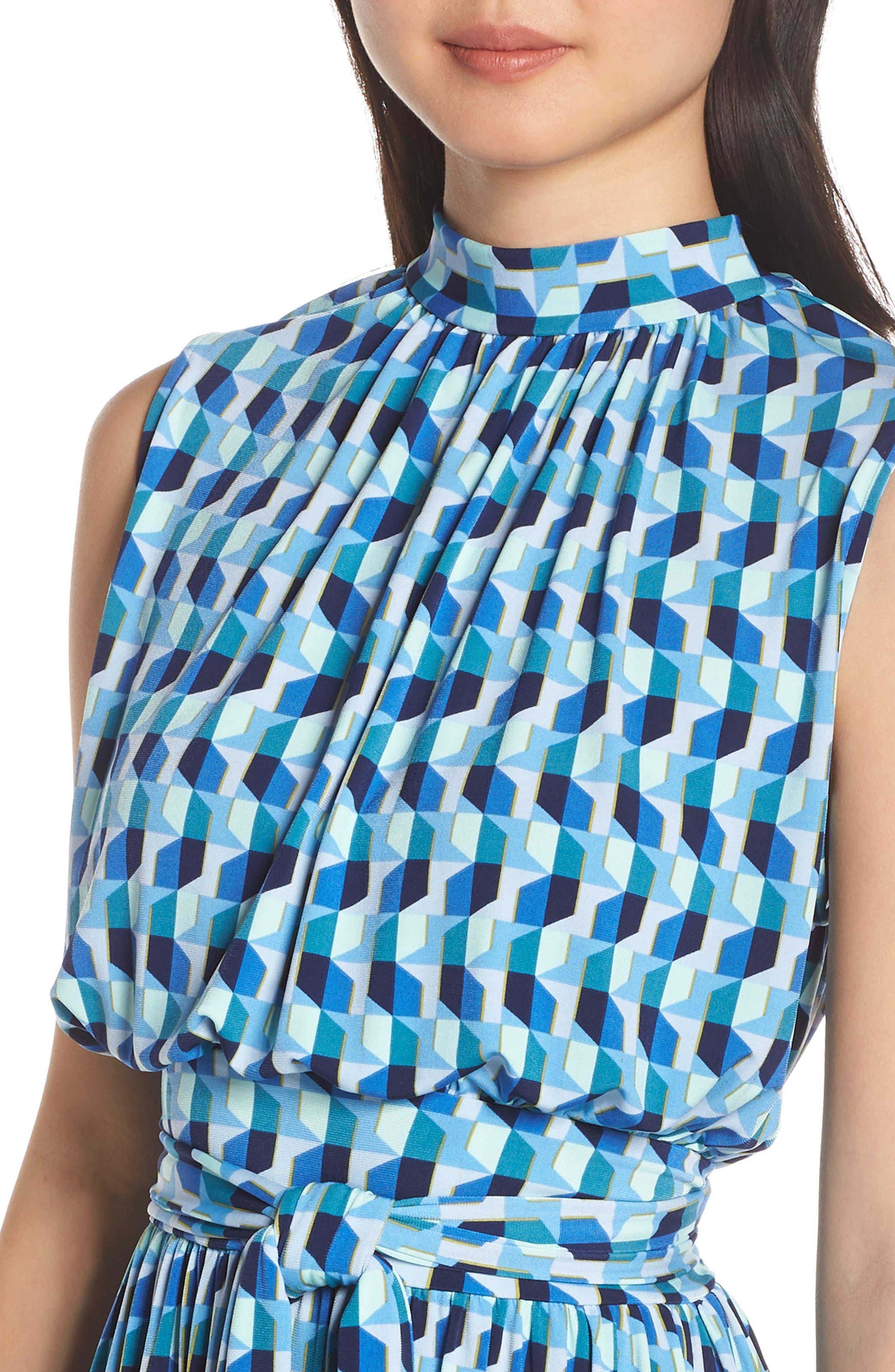 ,                             Mindy Shirred Midi Dress,                             Alternate thumbnail 5, color,                             AZURE BLUE