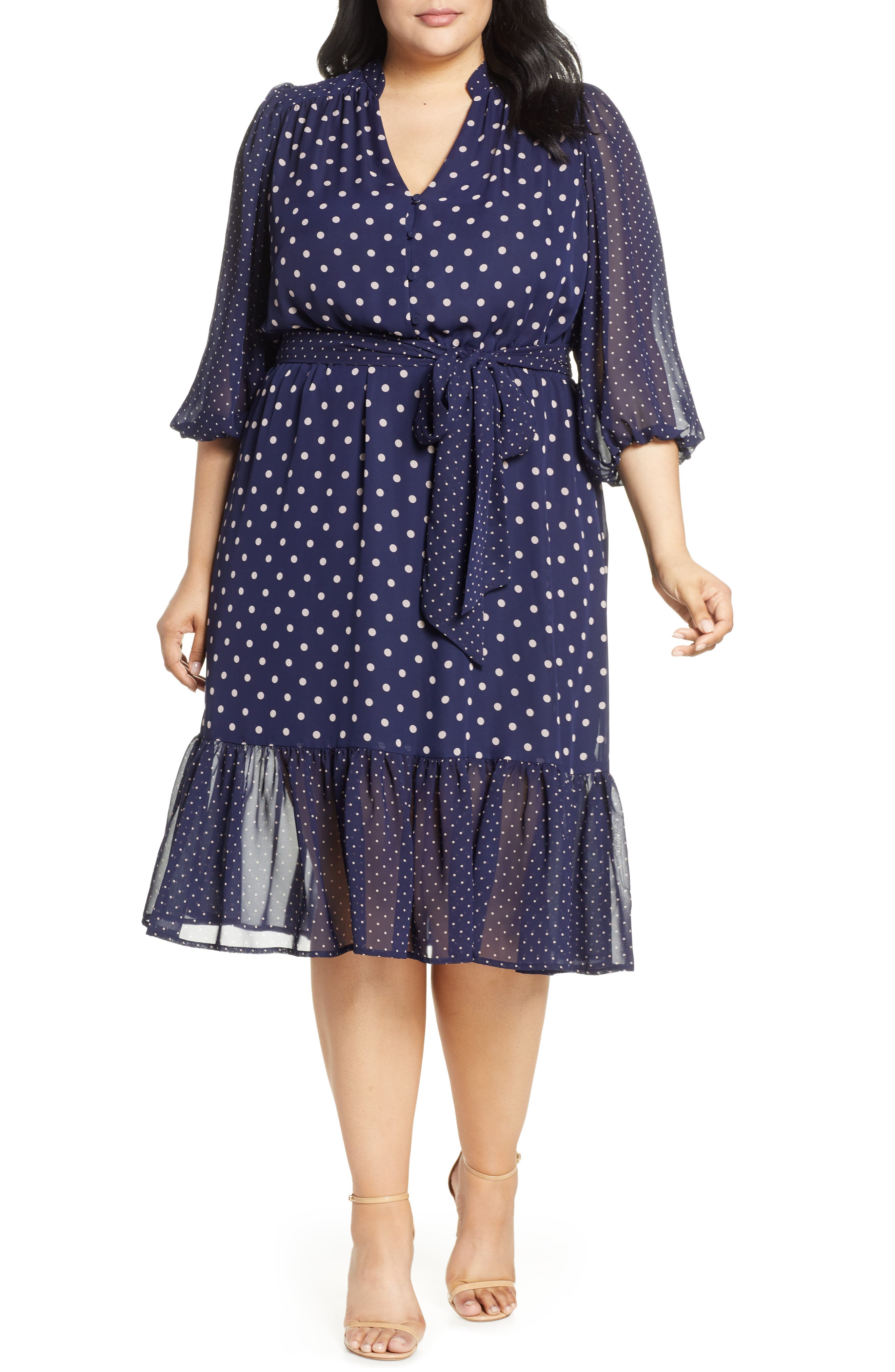 Plus Size Eliza J Polka Dot Chiffon Dress, Blue
