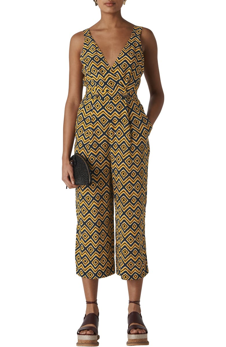 WHISTLES Lara Zigzag Button Jumpsuit, Main, color, YELLOW/ MULTI