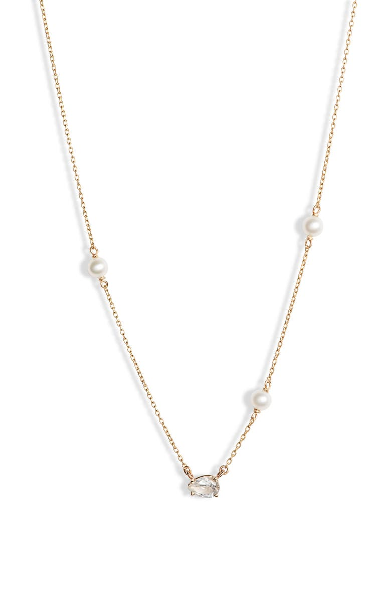 POPPY FINCH Baby Pearl & White Topaz Necklace, Main, color, YELLOW GOLD/ PEARL