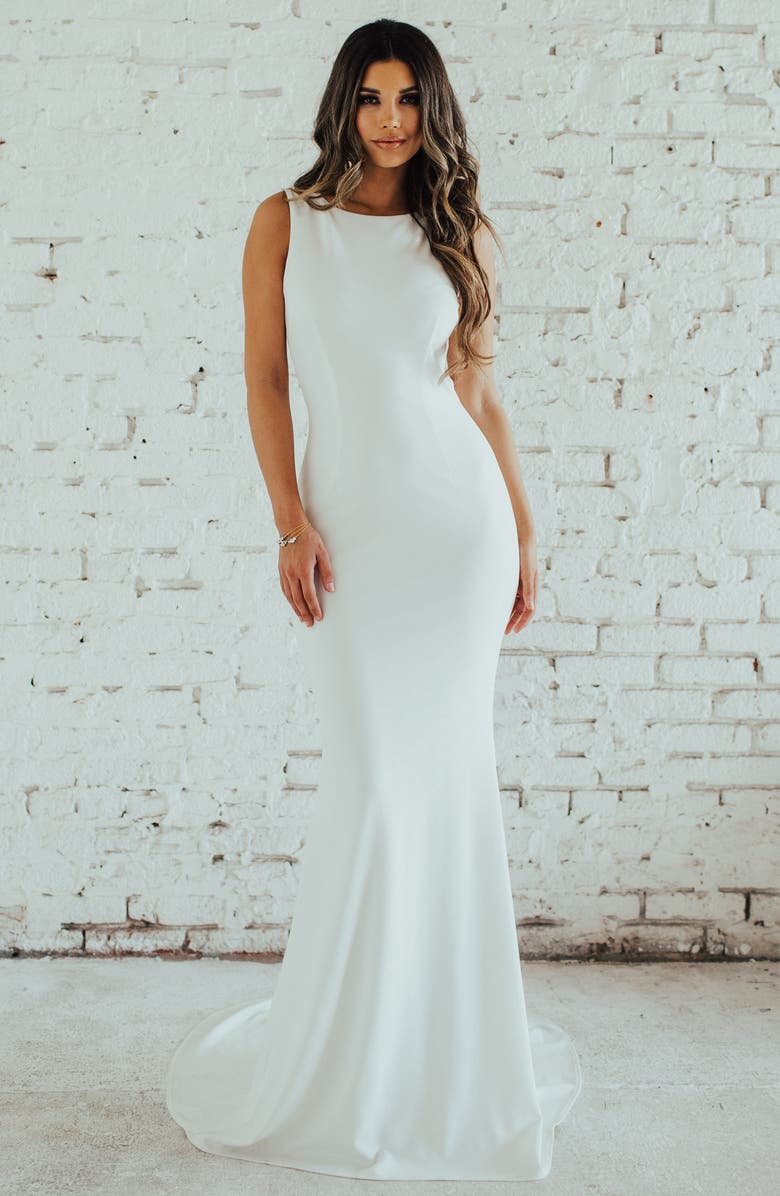 NOEL AND JEAN BY KATIE MAY Theo Low Back Crepe Mermaid Gown, Main, color, IVORY