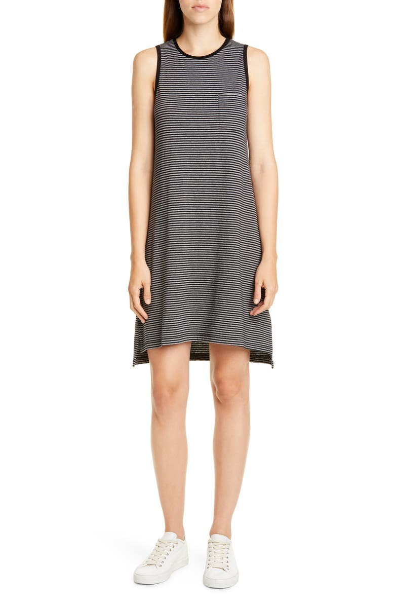ATM ANTHONY THOMAS MELILLO Stripe Jersey Tank Dress, Main, color, BLACK/ HEATHER GREY