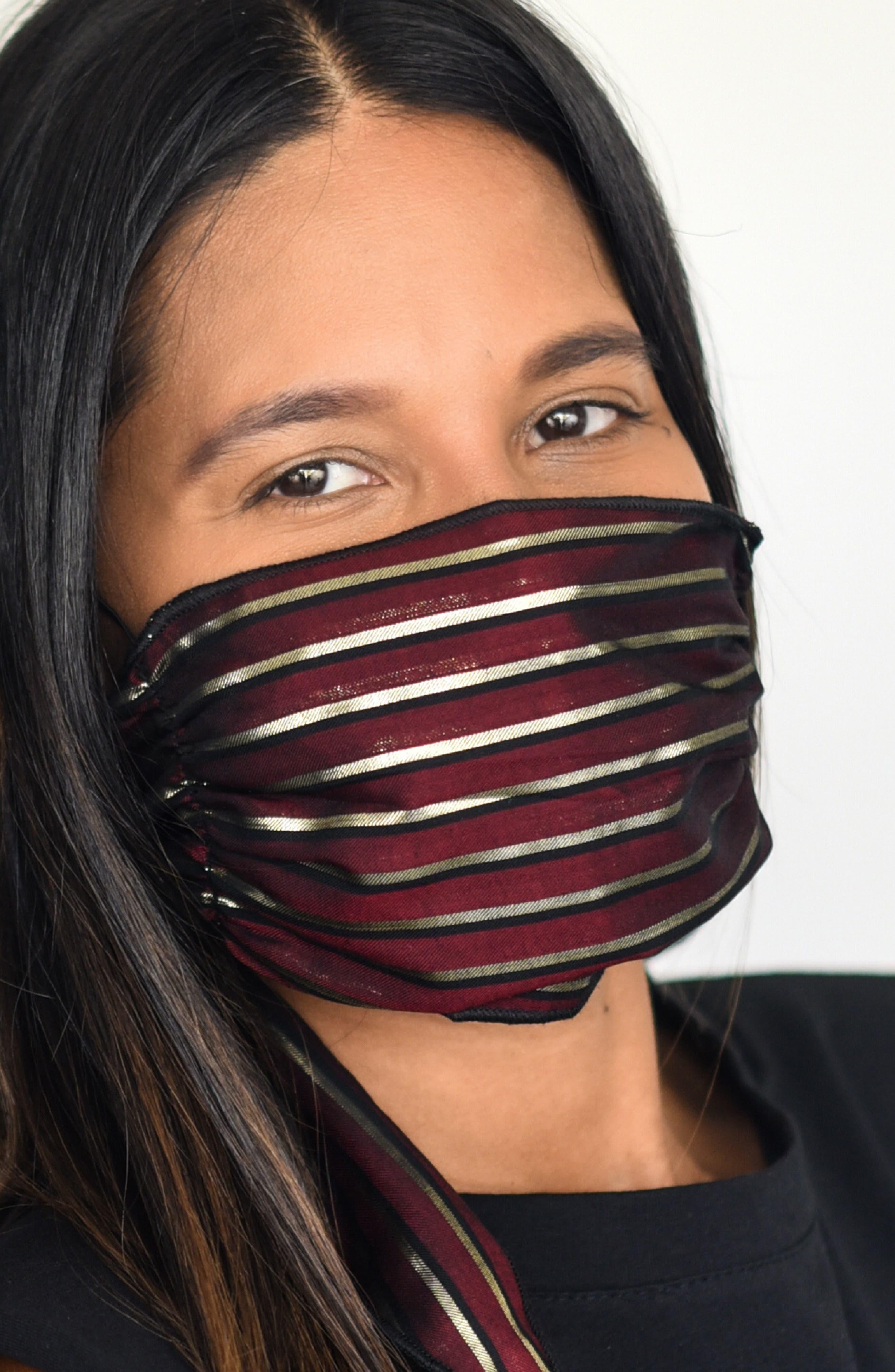 Women's Mali + Lili Adult Shimmer Stripe Four Layer Mask Scarf