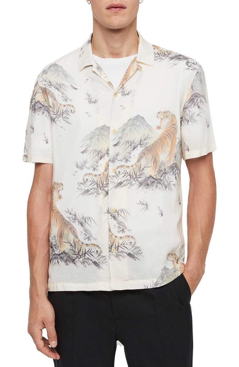 ALLSAINTS Kayan Slim Fit Print Short Sleeve Button-Up Shirt, Main, color, ECRU WHITE