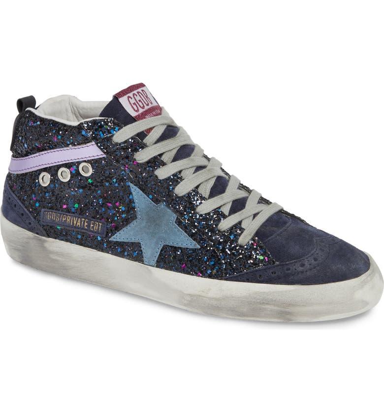 GOLDEN GOOSE Mid Star Glitter Sneaker, Main, color, 400