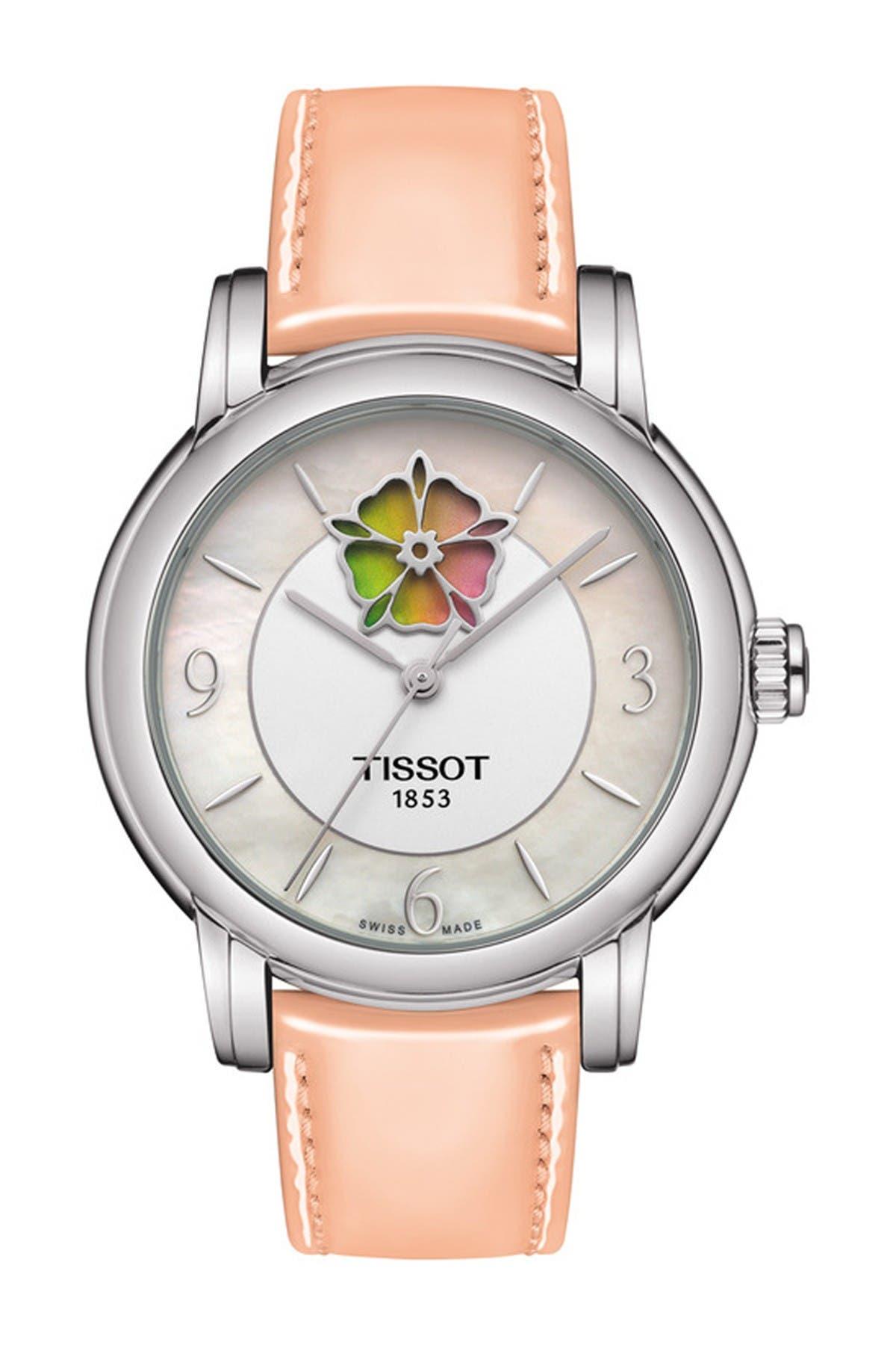 Image of Tissot Women's Lady Heart Flower Powermatic 80 Leather Strap Watch, 35mm