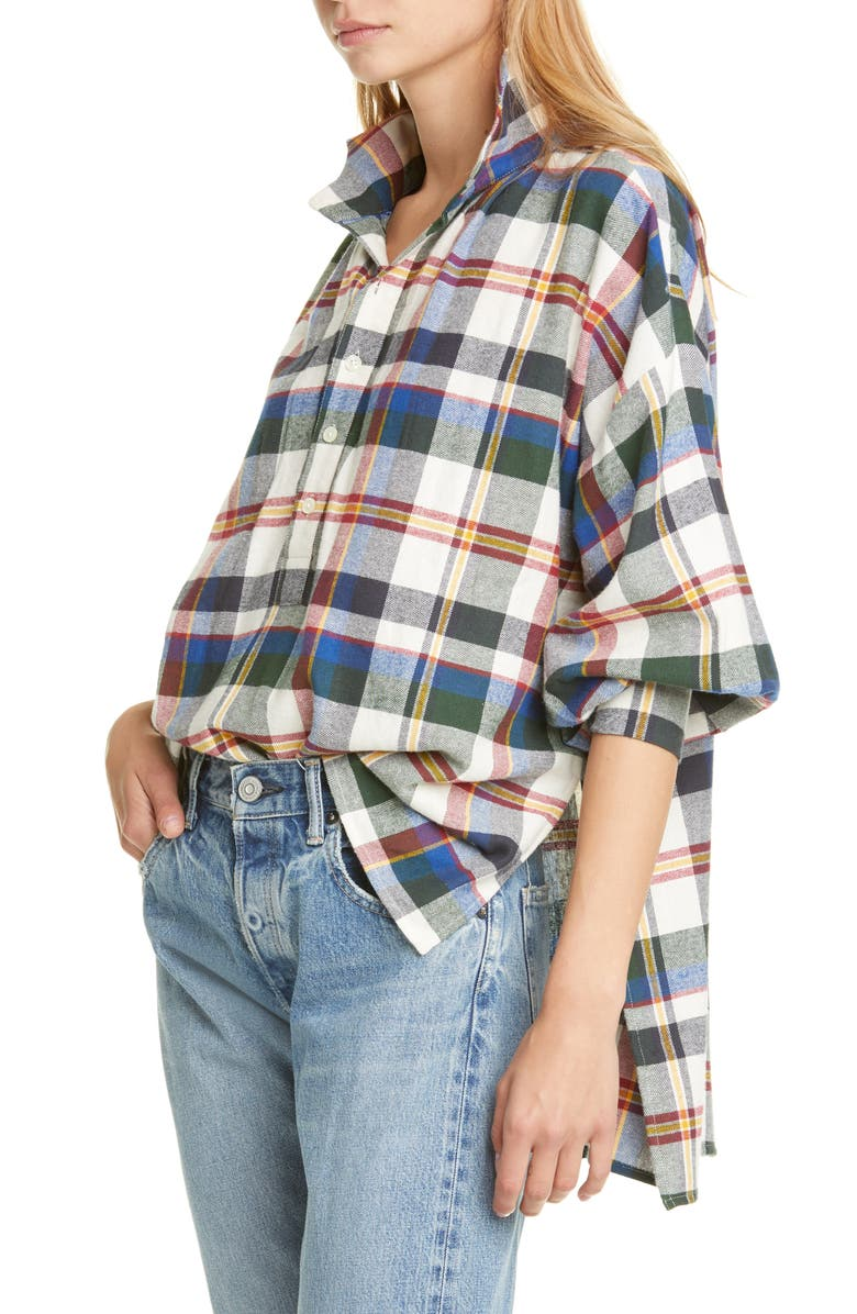 THE GREAT. The Painter's Smock Plaid Shirt, Main, color, SCHOOL HOUSE PLAID