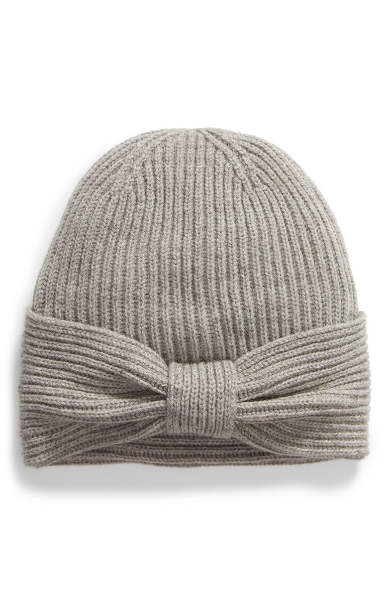KATE SPADE NEW YORK solid bow reversible beanie, Main, color, HEATHER GRAY