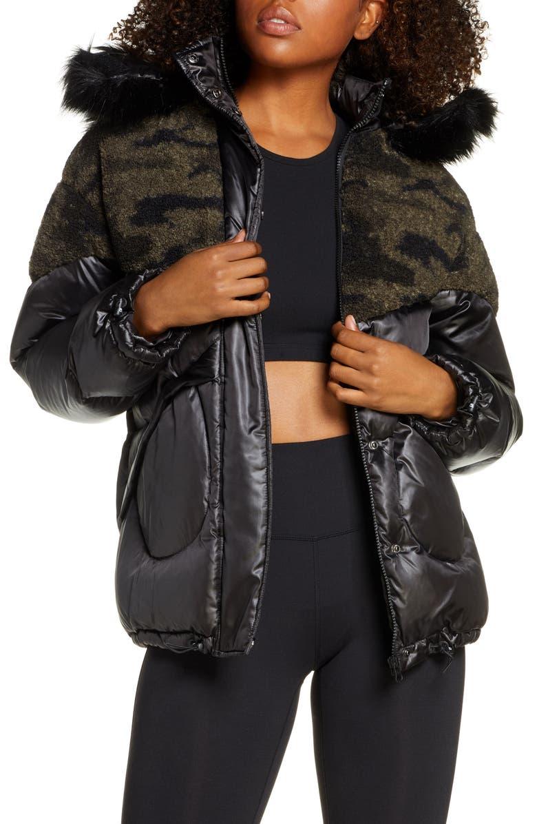 BLANC NOIR Faux Shearling Puffer Jacket with Faux Fur Trim, Main, color, BLACK