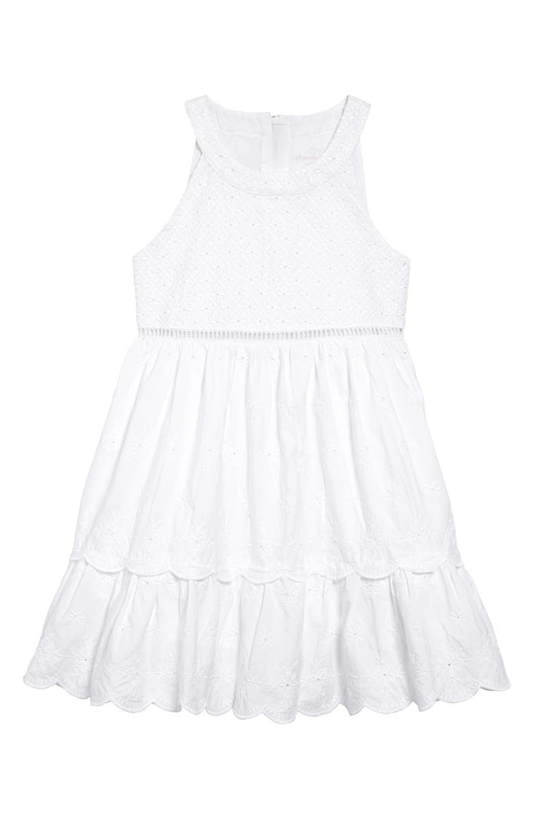 VINEYARD VINES Tiered Eyelet Dress, Main, color, 100