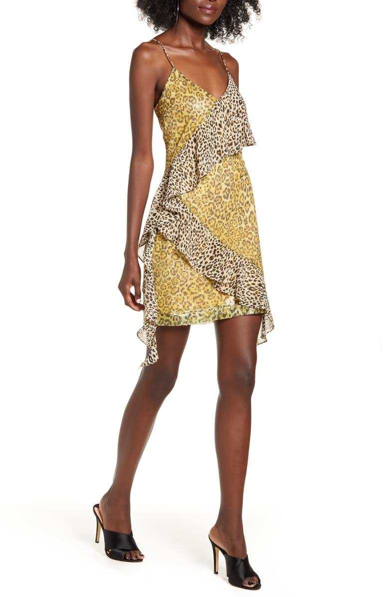ENDLESS ROSE Spangle Leopard Pattern Minidress, Main, color, YELLOW