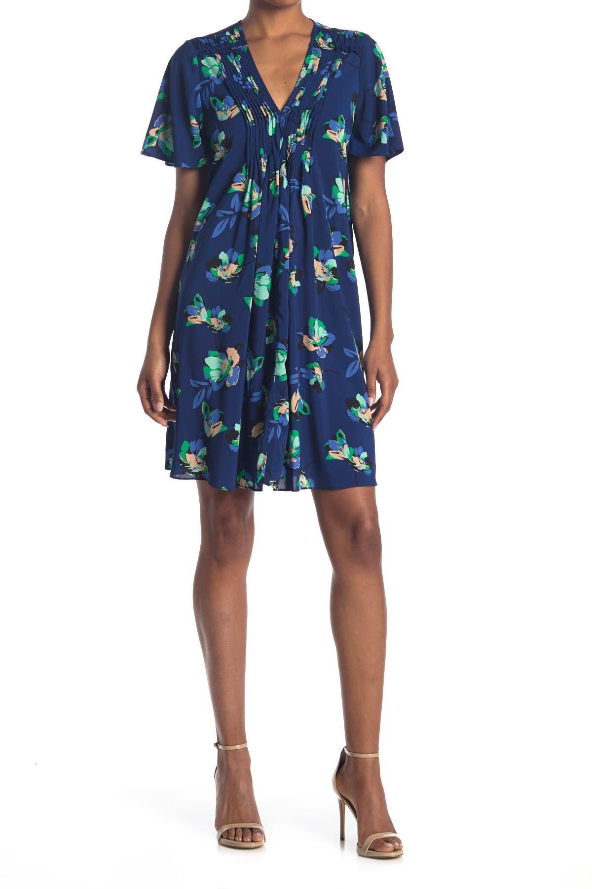 Image of Donna Morgan Floral Pleated V-Neck Flutter Sleeve Shift Dress