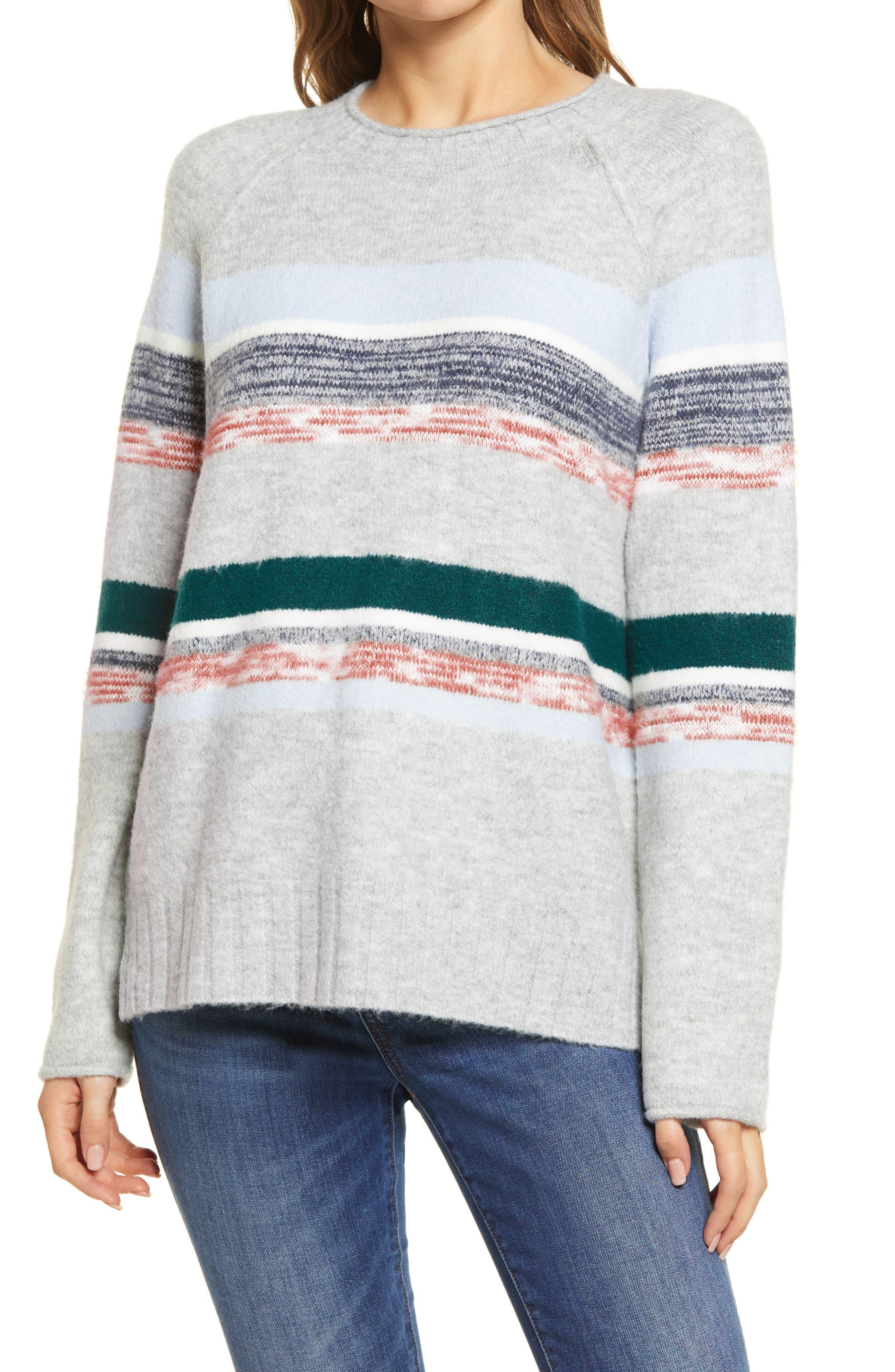 Caslon® Cozy Mix Stripe Crewneck Sweater   Nordstrom