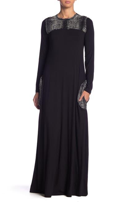 Image of Go Couture Faux Fur Trim Maxi Dress