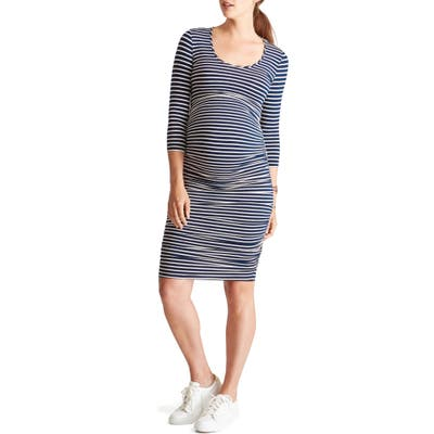 Ingrid & Isabel Shirred Maternity Dress, Blue