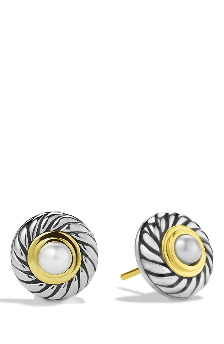 DAVID YURMAN 'Cable' Pearl Earrings with Gold, Main, color, 101