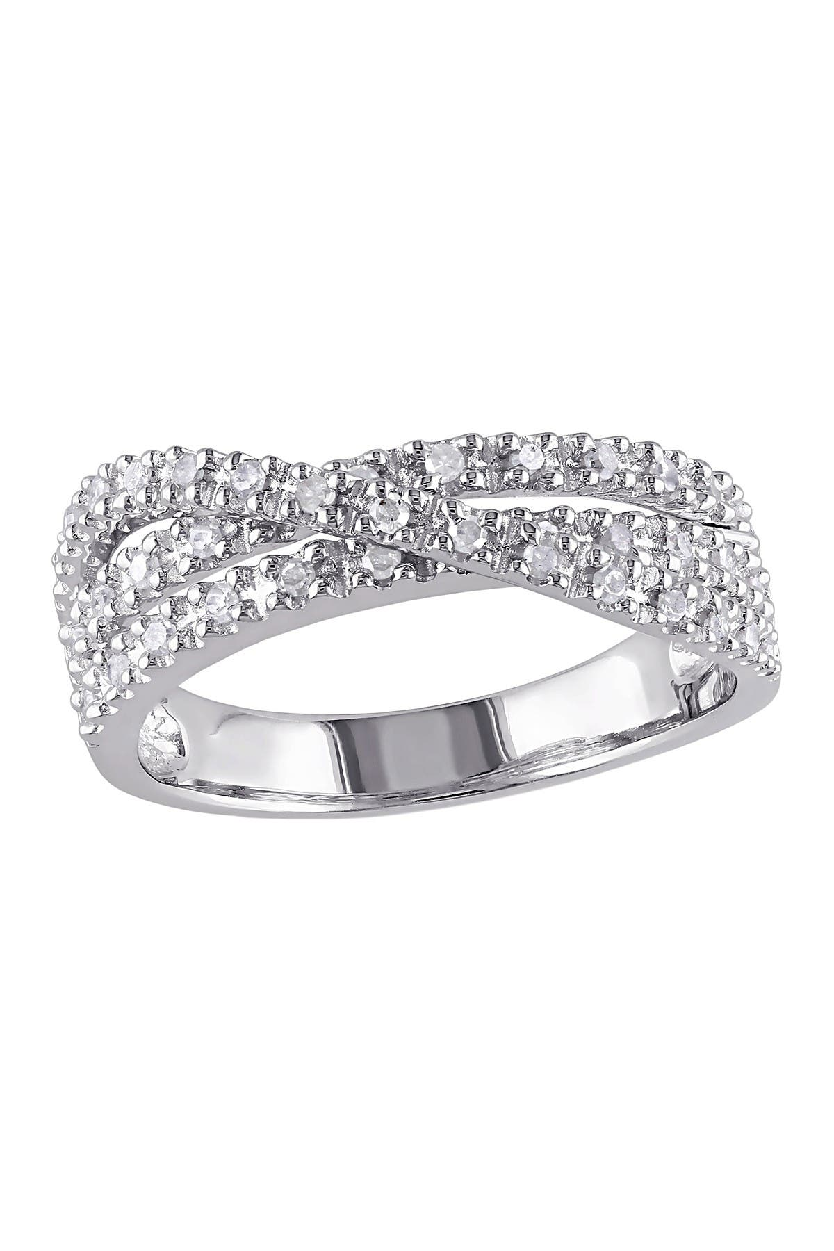 Image of Delmar Sterling Silver Multi Twist Pave Diamond Ring - 0.25 ctw