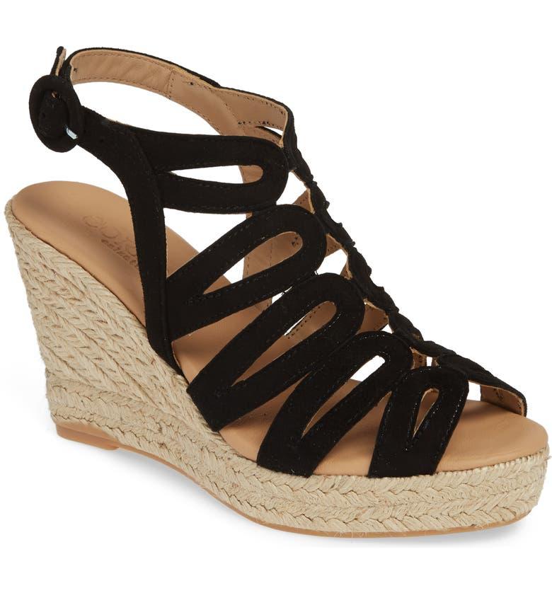 CORDANI Ezra Espadrille Wedge Sandal, Main, color, BLACK SUEDE