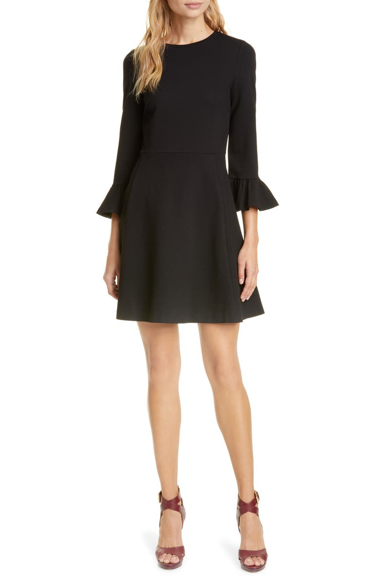 KATE SPADE NEW YORK bell sleeve ponte fit & flare dress, Main, color, 001