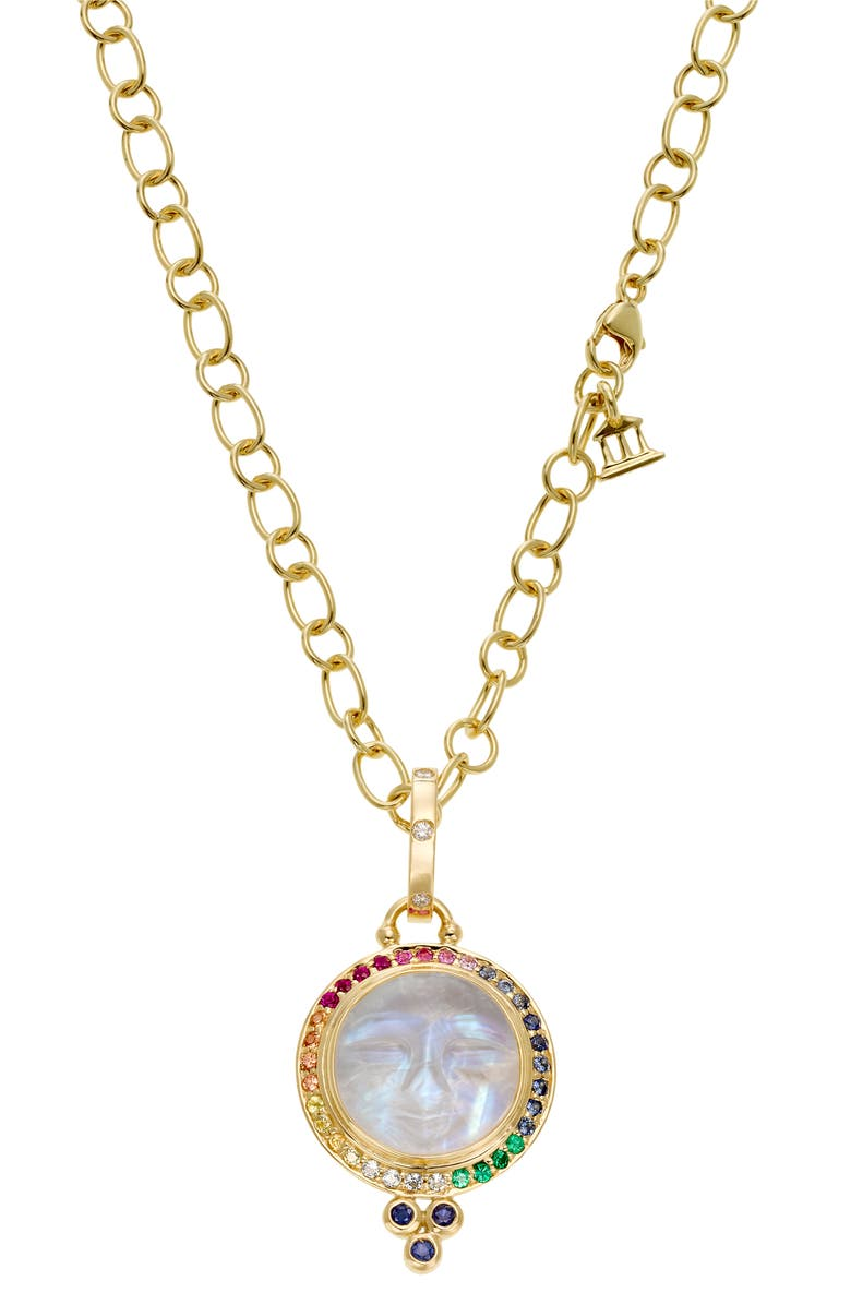 TEMPLE ST. CLAIR 18k Gold Moon Face Pendant Necklace, Main, color, GOLD/ MULTI